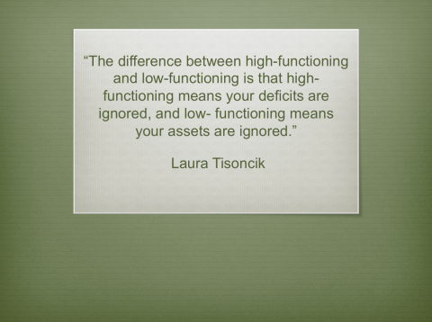 inspiration from a quote by Laura Tisoncik- high & low functioning?